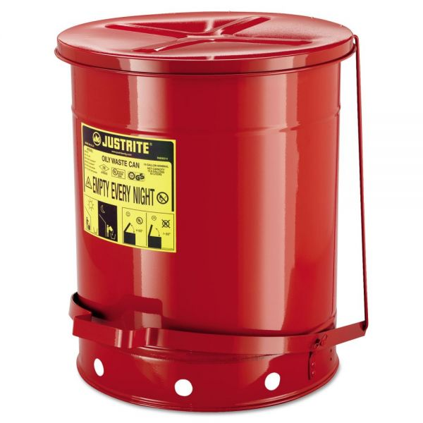 JUSTRITE Red Oily 14 Gallon Step-On Waste Can