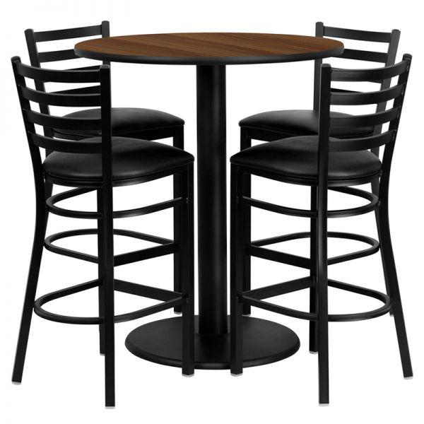Flash Furniture 36'' Round Walnut Laminate Table Set with 4 Ladder Back Metal Barstools - Black Vinyl Seat