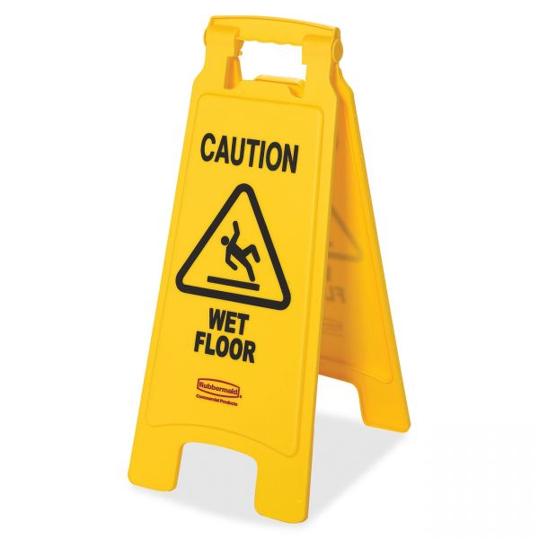 """Rubbermaid Double-Sided """"Caution Wet Floor"""" Foldable Safety Sign"""