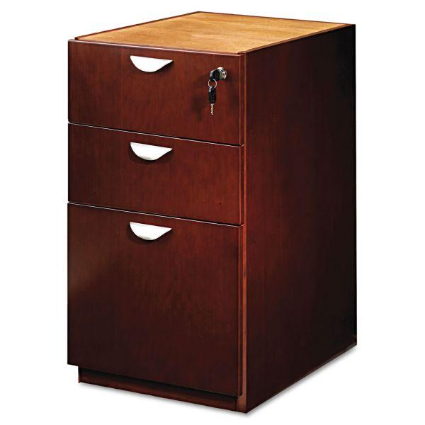 Mayline Mira Series Box/Box/File Credenza Pedestal, 15w x 22d x 27¾h, Medium Cherry