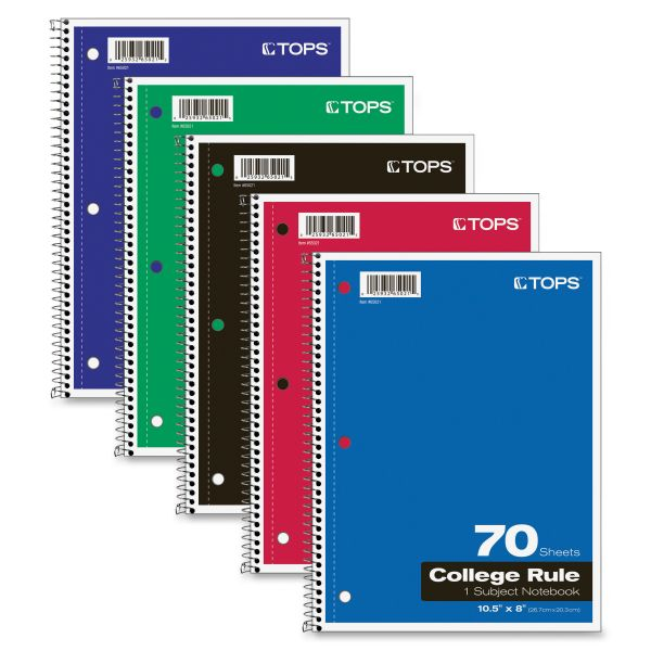 TOPS 1-Subject College Ruled Spiral Notebook