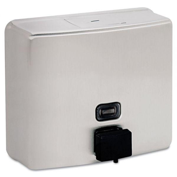 Bobrick ConturaSeries Surface-Mounted Liquid Soap Dispenser, 40oz, Stainless Steel Satin