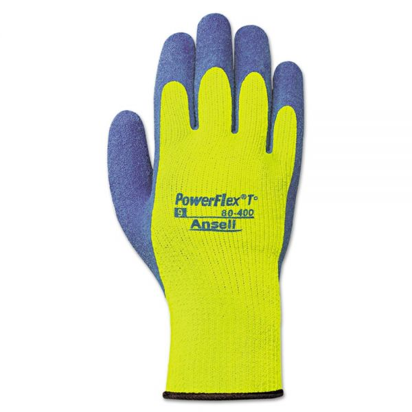 AnsellPro PowerFlex T Hi Viz Yellow Natural Rubber Gloves, Size 9