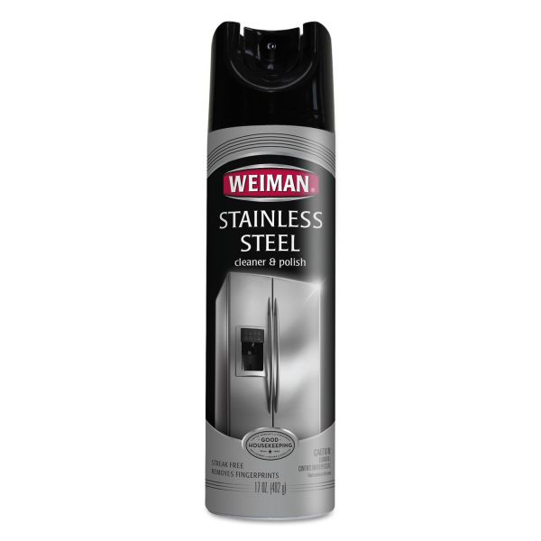WEIMAN Stainless Steel Cleaner and Polish, 17 oz Aerosol, 6/Carton