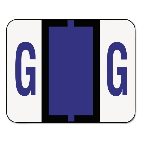 Smead A-Z Color-Coded Bar-Style End Tab Labels, Letter G, Violet, 500/Roll