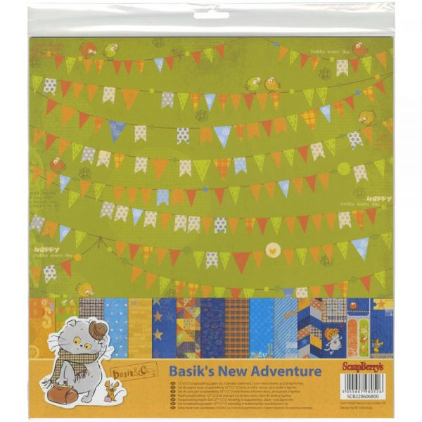 "ScrapBerry's Basik's New Adventure Paper Pack 12""X12"" 9/Pkg"