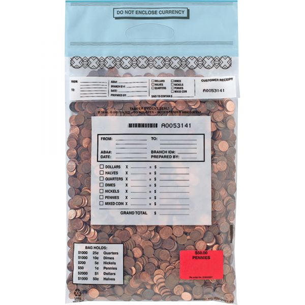 MMF Industries Single-Handle Self-Sealing Coin Deposit Bags