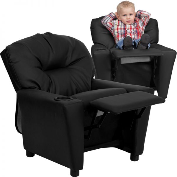 Flash Furniture Contemporary Black Leather Kids Recliner with Cup Holder