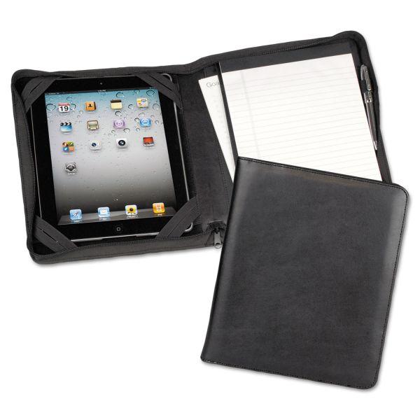 Samsill iPad Zipper Composition Padfolio, Leather, Black
