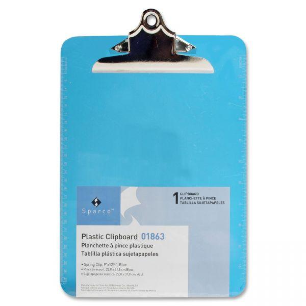 Sparco Plastic Transparent Blue Clipboard