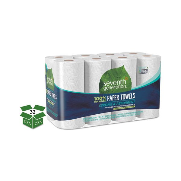 Seventh Generation 100% Recycled Paper Towel Rolls, 11 x 5.4, 2-Ply, White, 156 Sheets/Roll, 32 Rolls/Carton