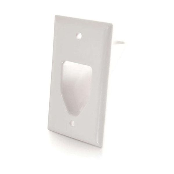 C2G Recessed Low Voltage Cable Pass Through Single Gang Wall Plate - White