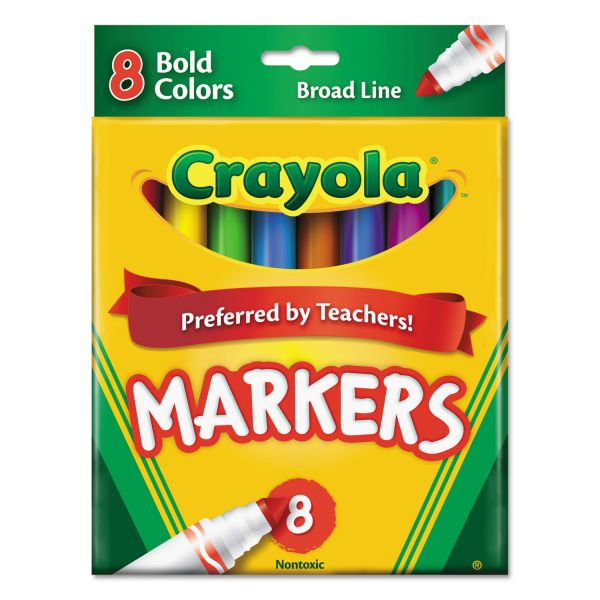 Crayola Non-Washable Markers, Broad Point, Bold Colors, 8/Set