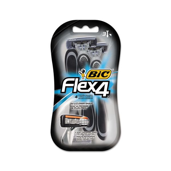 BIC Flex 4 Disposable Men's Razor, 4 Blades, Gray/Black, 4/Pack