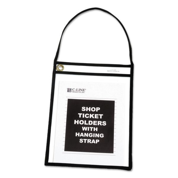 "C-Line Shop Ticket Holder with Strap, Black, Stitched, 75"", 9 x 12, 15/BX"