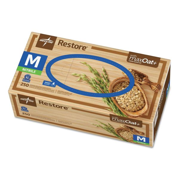 Medline Restore Nitrile Exam Gloves with Oatmeal, Medium, Off-White, 250/Box