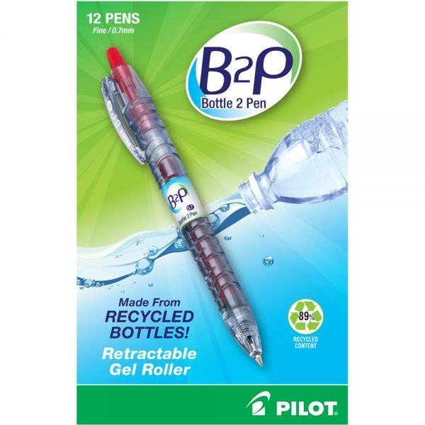 Pilot B2P Bottle-2-Pen Recycled Retractable Gel Ink Pen, Red Ink, .7mm