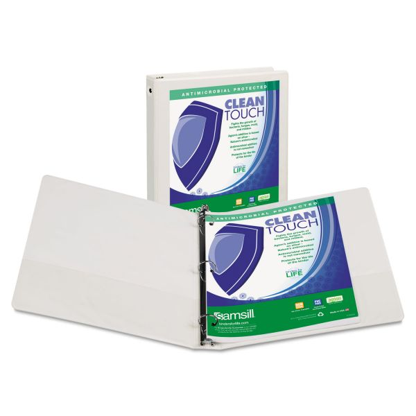 "Samsill Clean Touch 3-Ring View Binder, Antimicrobial, 1"" Capacity, Round Ring, White"