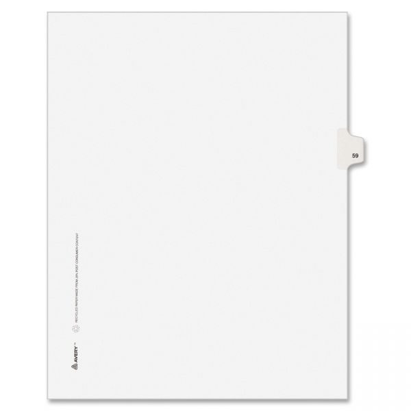 Avery-Style Legal Exhibit Side Tab Divider, Title: 59, Letter, White, 25/Pack