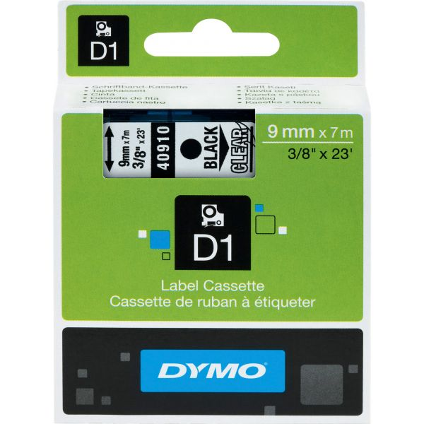 """DYMO D1 High-Performance Polyester Removable Label Tape, 3/8"""" x 23 ft, Black on Clear"""