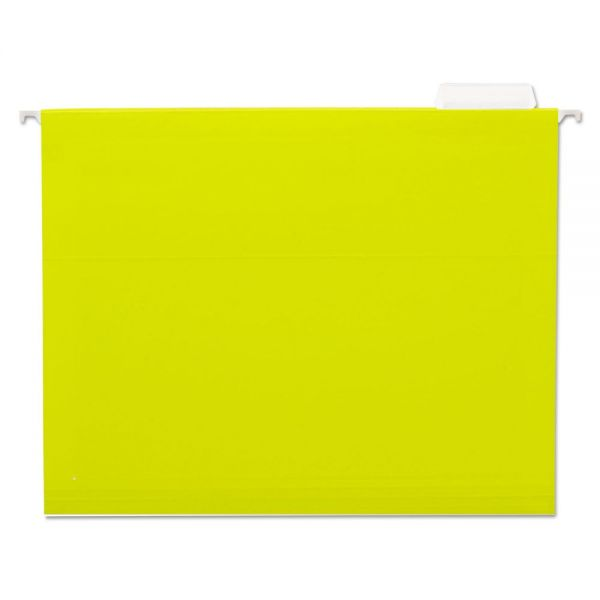 Universal Hanging File Folders, 1/5 Tab, 11 Point Stock, Letter, Yellow, 25/Box