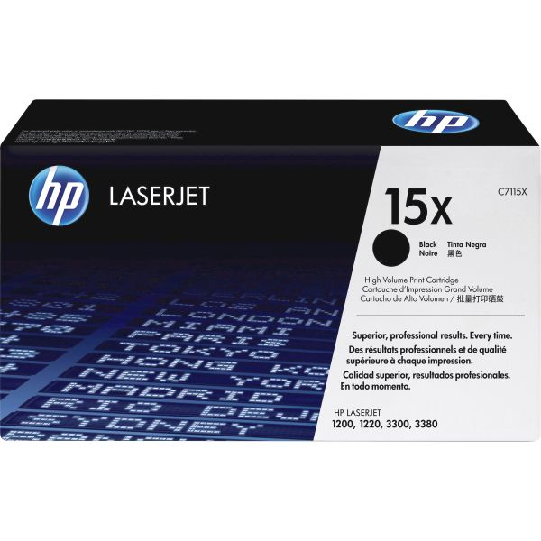 HP 15X, (C7115X) High Yield Black Original LaserJet Toner Cartridge