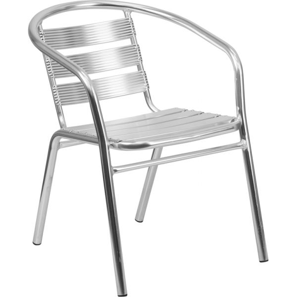 Flash Furniture Heavy Duty Aluminum Commercial Indoor-Outdoor Restaurant Stack Chair with Triple Slat Back