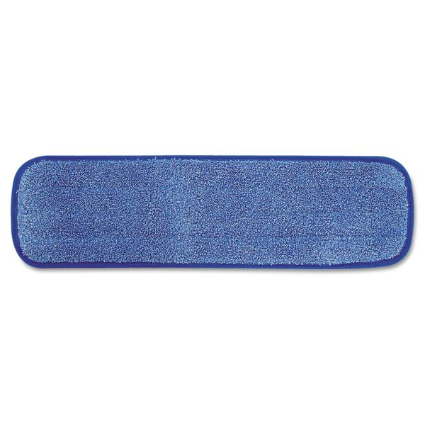 "Rubbermaid Commercial Microfiber Wet Room Pad, Split Nylon/Polyester Blend, 18"", Blue, 12/Carton"