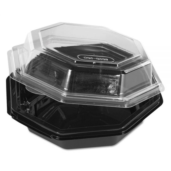 Reynolds Octagon Hinged Carryout Container, Plastic, Black Base, Clear, 16 oz, 150/Carton