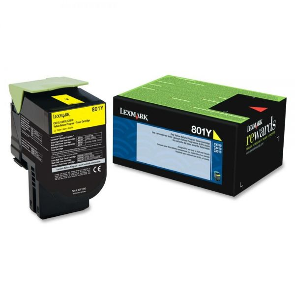 Lexmark 801Y Yellow Return Program Toner Cartridge (80C10Y0)