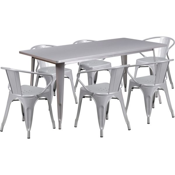 Flash Furniture 31.5'' x 63'' Rectangular Silver Metal Indoor-Outdoor Table Set with 6 Arm Chairs