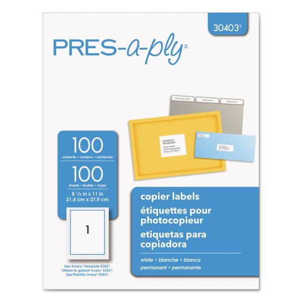 PRES-a-ply White Copier Full-Sheet Labels, 8 1/2 x 11, 100/Box