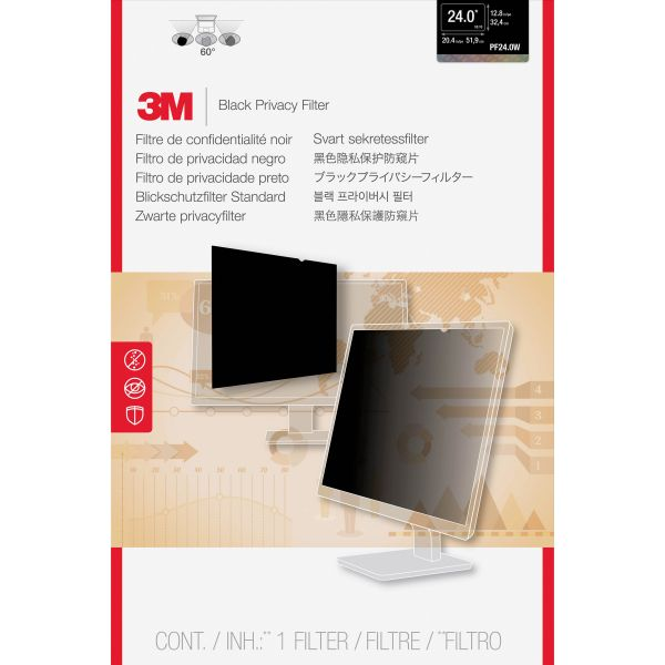 "3M PF24.0W Privacy Filter for Widescreen Desktop LCD Monitor 24.0"" Black"