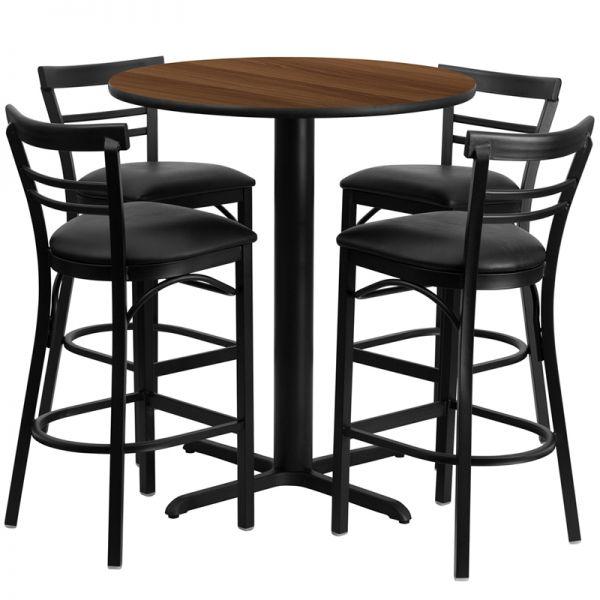 Flash Furniture 24'' Round Walnut Laminate Table Set with 4 Ladder Back Metal Barstools - Black Vinyl Seat