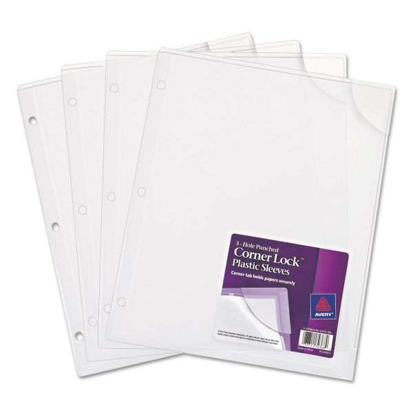 Avery Three-Hole Punched Corner Lock Plastic Sleeves, 11 3/4 x 9 1/2, Clear, 4/Pack
