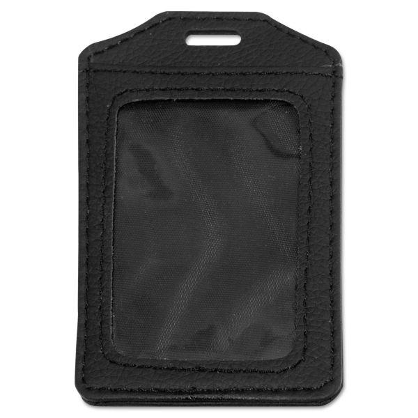 Advantus Leather-Look Vertical Badge Holders