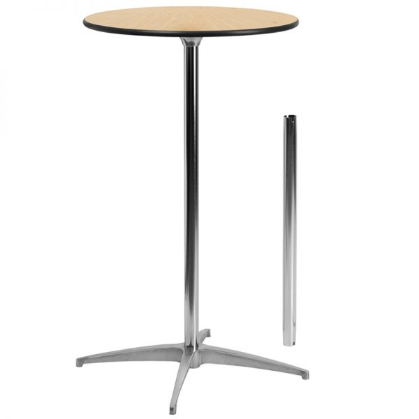 Flash Furniture 24'' Round Wood Cocktail Table with 30'' and 42'' Columns [XA-24-COTA-GG]