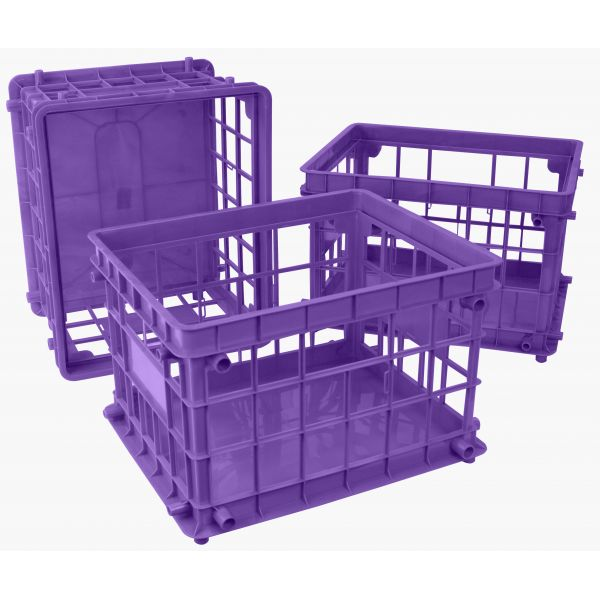Storex Standard Letter/Legal File Crate, Purple (Case of 3)