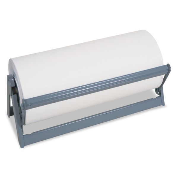 "Bulman All-In-1 Paper Roll Dispenser & Cutter, 9"" Diameter, 18"" Wide, Steel, Light Gray"