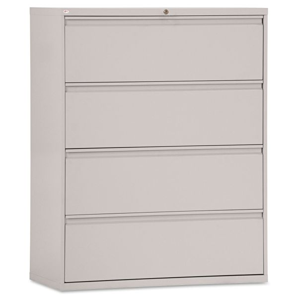 Alera Four-Drawer Lateral File Cabinet, 42w x 19-1/4d x 53-1/4h, Light Gray