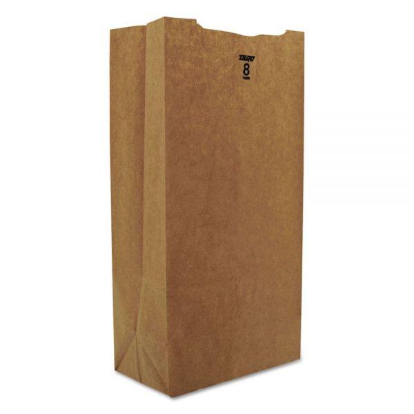 General #8 Paper Grocery Bag, 35lb Kraft, Standard 6 1/8 x 4 1/6 x 12 7/16, 2000 bags