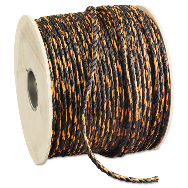 "Hooven Allison Truck Rope 3/8"" x 600' Reel Solid Twisted Orange/Black"