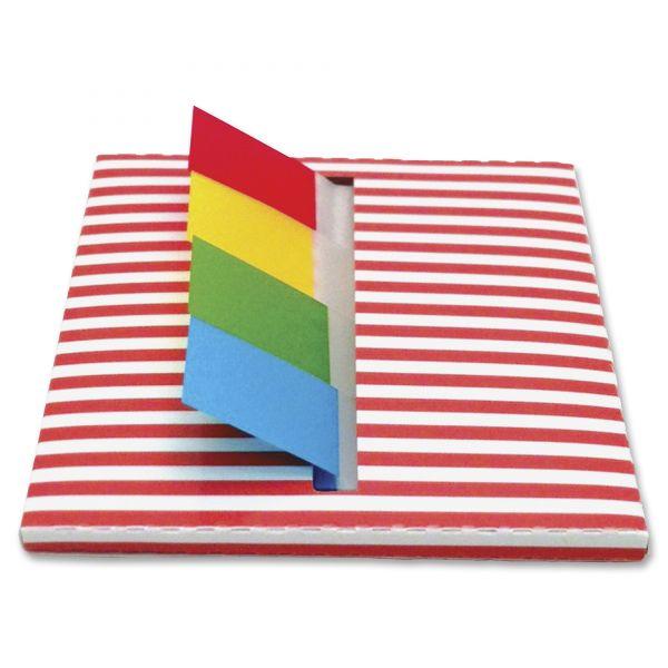 Redi-Tag Orange Stripe Designer Pop-Up Page Flag Dispenser, 4 Pads of 35 Flags Each