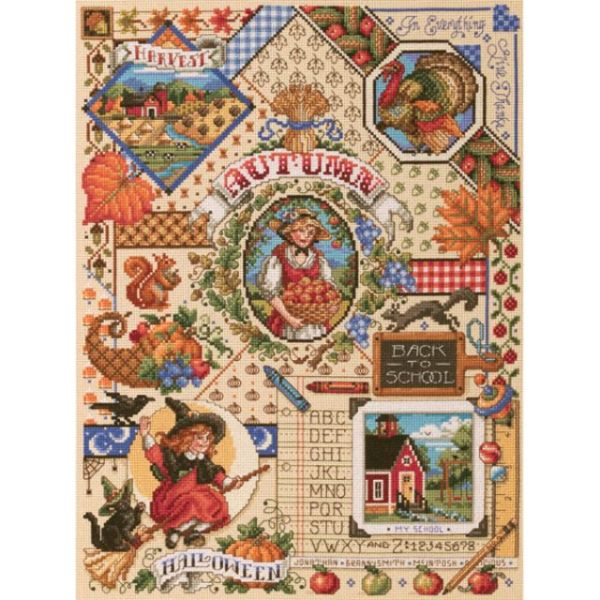 Autumn Sampler Counted Cross Stitch Kit