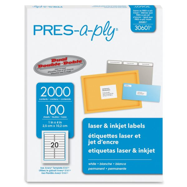 PRES-a-ply Laser Address Labels, 1 x 4, White, 2000/Box