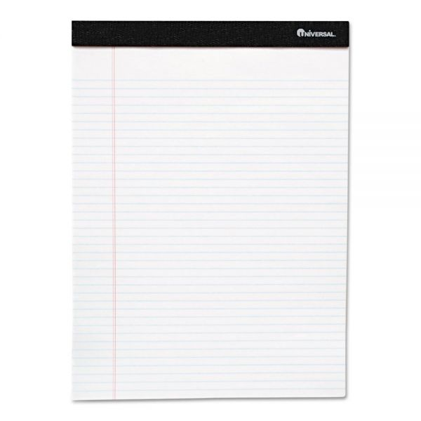 Universal Premium Ruled Writing Pads, White, 5 x 8, Legal Rule, 50 Sheets, 12 Pads