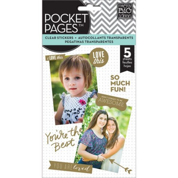 Me & My Big Ideas Pocket Pages Clear Stickers 5 Sheets/Pkg