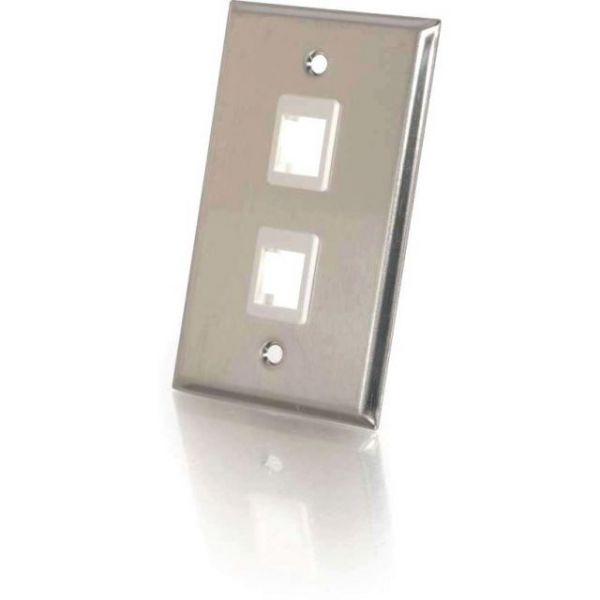 C2G 2-Port Single Gang Multimedia Keystone Wall Plate - Stainless Steel