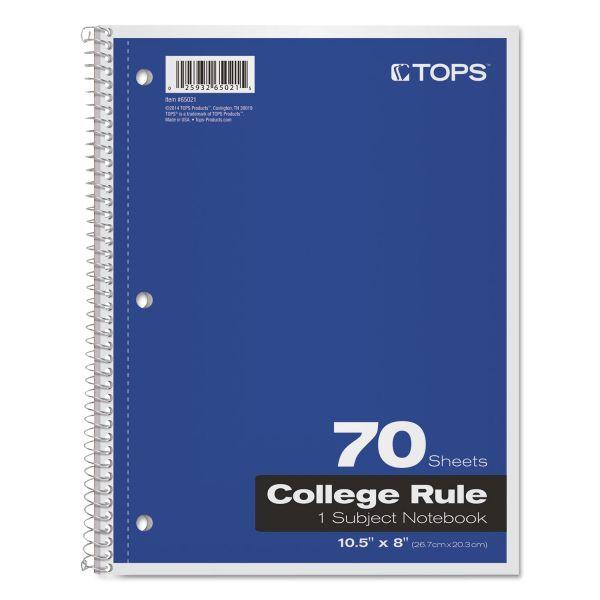 TOPS Coil Lock Wirebound Notebooks, College/Medium, 10 1/2 x 8, White, 70 Sheets