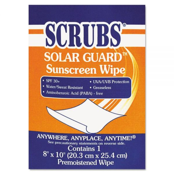 SCRUBS Solar Guard Sunscreen Towels, 100/Box